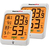ThermoPro TP53 Digitale thermo-hygrometer, voor binnen en buiten, thermometer voor temperatuur- en luchtvochtigheidsmeter, se