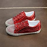 NGRDX&G Silbernes Turnschuh-Frauen-Netz Beschuht Weiße Schuhe, Rotes A, 37