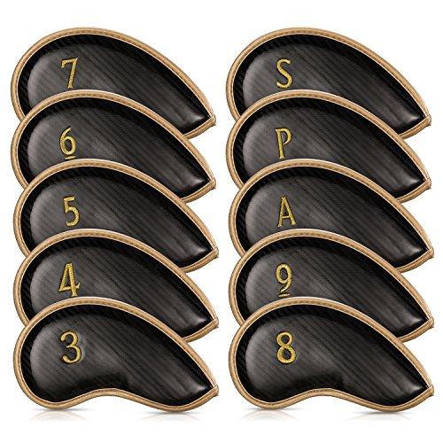 Schlägerkopfhüllen Eisen Golf 10 Stück Eisen Head Covers mit Zahlen auf Beiden Seiten Innenseite Klettverschluss Design Passen Sie die meisten Eisen und Wedges (Iron Golf)