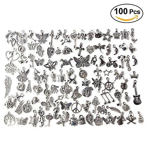 100er Schmuckanhänger Mischform Zinklegierung Anhänger Bastelmaterial für Handarbeit Bastelarbeit Armband Halskette Schmuckherstellung Schmuckzubehör Set