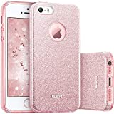 esr Coque pour iPhone SE/5s/5, Coque Silicone Paillette Strass Brillante Glitter de, Bumper Housse Etui de Protection [Anti Choc] pour Apple iPhone 5/5s/SE (Rose Pailleté)