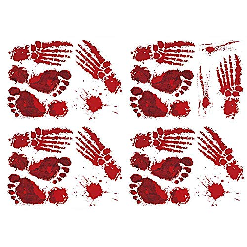 FOONEE Halloween Blutige Aufkleber Garland Bunting Fake Blood Fenster Wanddekoration (Blutige Fensteraufkleber/Wandtattoos, 4pcs / Set)