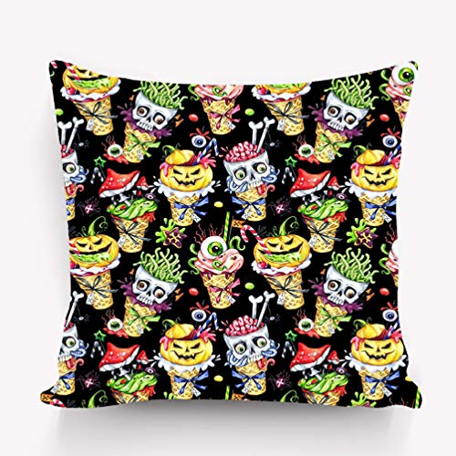 Throw Pillow Cushion Cover Watercolor Cartoon Cones Skulls Pumpkins Eyes amanitas Halloween Holiday Funny Ice Cream Watermark Decorative Square Accent Pillow Case 18 X 18 inches ()