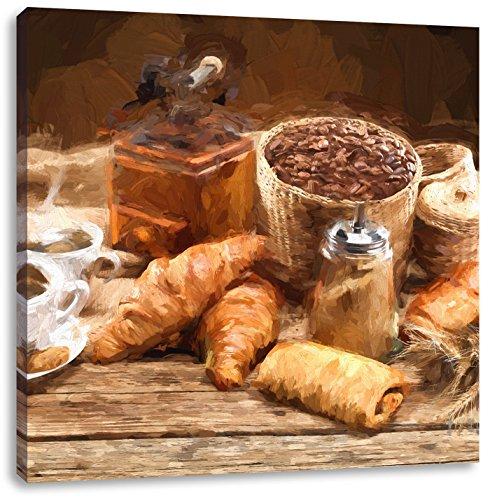Pixxprint Aromatischer Kaffee mit Croissant Pinsel Effekt, Format: 60x60 auf Leinwand -