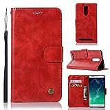 kelman Hülle für Lenovo Vibe K5 Note / A7020 Hülle Schutzhülle PU Leder + Soft Silikon TPU Innere Schale Brieftasche Flip Handyhülle - [JX05/Rot]