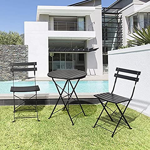 3 Piece Garden Bistro Set, Outdoor Furniture Round Folding Table & 2 Chairs Set, All Weather Resistant Wood-plastic Material, Rust-proof Powder-coated Metal