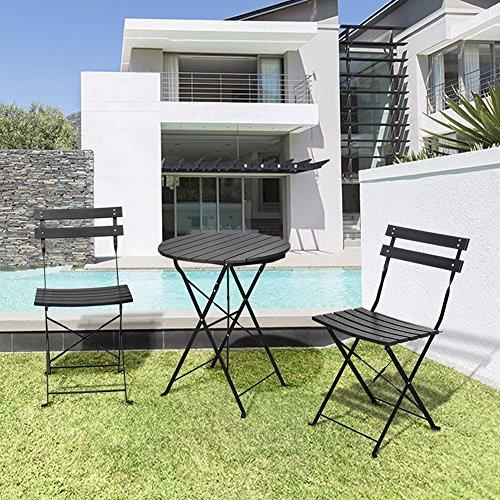3 Stück Garten-Bistro-Set, Outdoor-Möbel Round Falttisch & 2 Stühle Set, Allwetterfestes Holz-Kunststoff-Material, Rostfreies, pulverbeschichtetes Metallgestell (Pub-tische Und Stühle-sets)