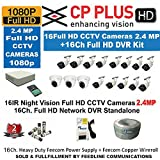 CP PLUS 16-CHANNEL DVR KIT WITH 2-TB HARD DISK , 3-PC 2.4MP DOME CAMERA , 13-PC 2.4MP BULLET CAMERA, 16-CH POWER SUPPLY ,WITH BNC/DC CONNECTORS & WIRE ROLL COMBO PACK.
