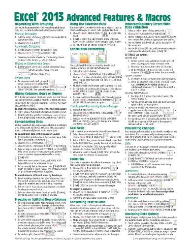 Microsoft Excel 2013 Advanced & Macros Quick Reference Guide (Cheat Sheet of Instructions, Tips & Shortcuts - Laminated - 2013 Sheet Excel Cheat