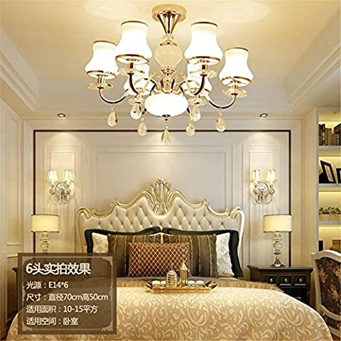 Kristall-Kronleuchter Wohnzimmer LED-Leuchten Kreative moderne Gold Eisen Kronleuchter Schlafzimmer Restaurant Licht , 6 head