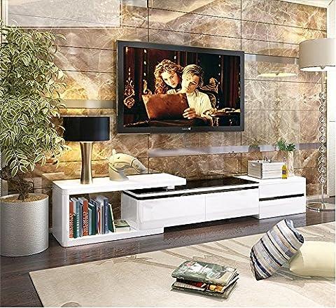 extensible Blanc Couleur haute en verre support TV/meuble TV Couleur Blanc --