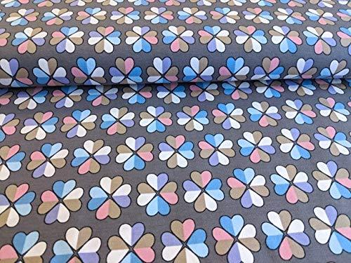 Angebot! Qualitativ hochwertiger Baumwolljersey mit Blumen in Herzform, Altrosa/Blau/Weiß auf Taupe als Meterware zum kreativen Nähen von Erwachsenen- und Mädchenkleidung, 50 cm