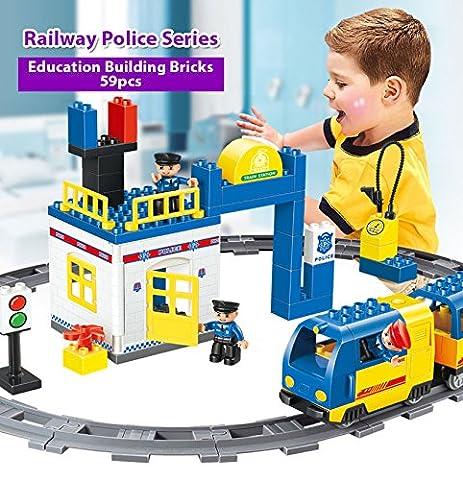 Kidoloop Building Block Police Station Train Track Set 62pcs Creative & Intelligent Toys