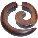 Chic-Net, orecchino tribale a forma di spirale, in legno marrone, con perno in acciaio inossidabile, finto piercing