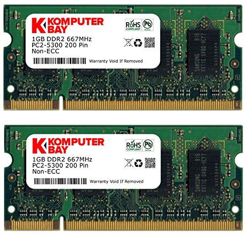 Komputerbay 2GB (2x 1GB) DDR2 667MHz PC2-5300 PC2-5400 (200 PIN) SODIMM Memoria Laptop con semiconduttori Samsung
