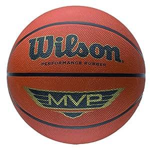 Wilson Ballon Basketball Extérieur, Surface Rugueuse, Asphalte, Granuleuse, Sol synthétique, Taille 5, De 6 à 8 ans, MVP, Brun