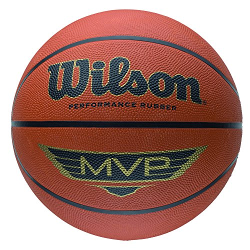 Wilson Outdoor-Basketball, Rauer Untergrund, Asphalt, Granulat, Kunststoffboden, Größe 5, 6 bis 8 Jahre, MVP, Braun