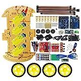 R3 SG90 2WD Robot Intelligent UNO Projet Bluetooth Kit Voiture Intelligente Voiture Télécommandée Jouet Voiture pour Enfants Électronique DIY Kits pour Arduino - Jaune