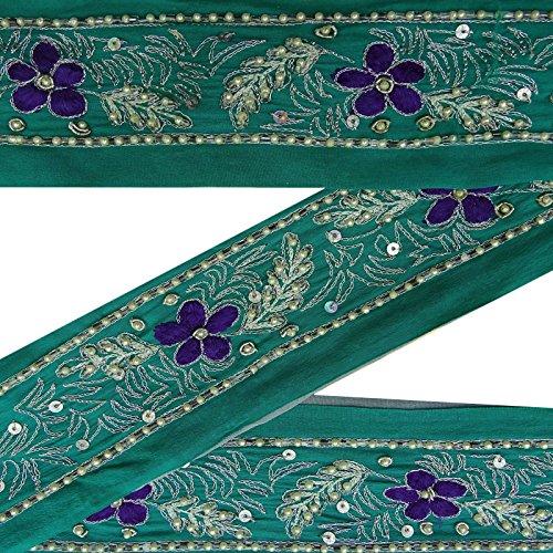 Vintage Indian Sari Border Trim Gebrauchte Gruen Gestickte Sewing 1Yd Ribbon Lace (Ribbon Trim Gestickte)