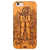Inkad Apple iPhone 6 / 6s Pure Bamboo Wood in Dude on Hoverboard Laser Engraved on Mobile Case Cover (Brown)