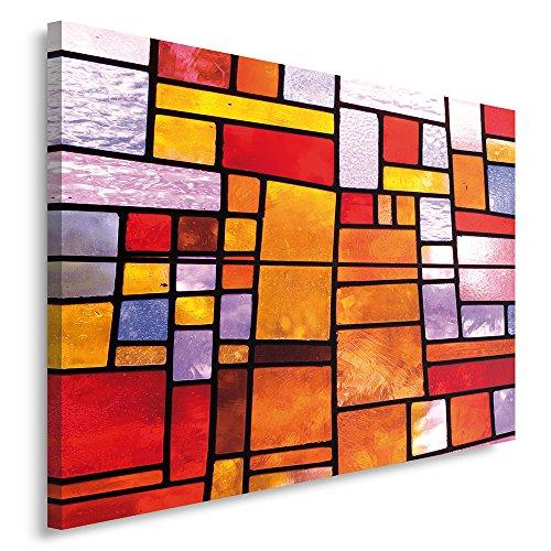 Feeby Frames, Quadro pannelli, Pannello singolo, Quadro su tela, Stampa artistica, Canvas 30x40 cm, ASTRAZIONE, GEOMETRIA, VETRATE, ARANCIONE, ROSSO