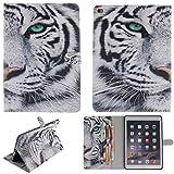 """Ooboom® iPad Pro 9.7"""" Coque PU Cuir Housse Étui Flip Cover Case Wallet Portefeuille Supporter avec Porte-Cartes Fermeture Magnétique pour Apple iPad Pro 9.7"""" - Tigre Blanc"""