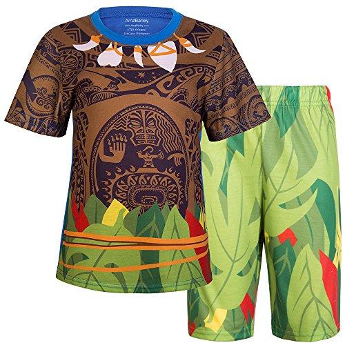 n 2 Stück Short Set Pyjamas PJs Kleidung Sets Nachtwäsche Moana (5-6 Jahre, blau) (2 Stück Baumwolle Kostüme)