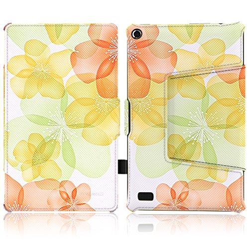 MoKo Housse Fire 7 2015 - Etui Fin avec Support Multi-Angles pour Tablette Amazon Fire 7 Pouces (5ème Génération,Modèle 2015) Seulement, Carbon Fiber BLEU CLAIR Floral Vert