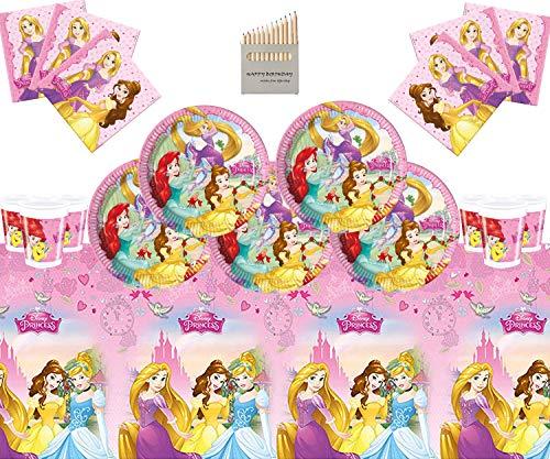 Disney Princess Party Supplies Mädchen komplette Geburtstag Party Geschirr Set 16 Gäste- Einweg Disney Princess Teller Cups Servietten Tischdecke