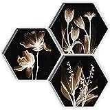SAF Set of 3 Hexagon Preety White Flower UV Textured MDF Home Decorative Gift Item Floral Painting 17 Inch X 17 Inch SANFHX13
