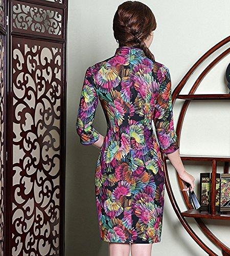 ACVIP Colorato Cheongsam con Collo a Forma di Goccia a Maniche Medie, 3 Colori Viola