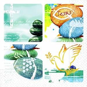 Confession Lot de 20 serviettes en papier pour communion/confirmation/baptême Motifs pierres 33 x 33cm