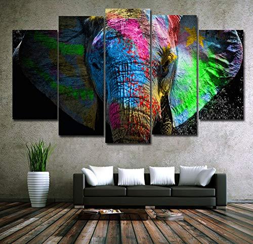 Foagge 5 Paneles Coloridos Elefantes Animales Arte Lienzo Pintura Posters Impresiones En...