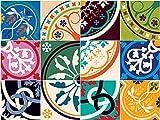 Sirface Bunte Marokkanische Fliesen Aufkleber–Fliesenaufkleber Aufkleber Set für Küche und Badezimmer–24Stück–Verschiedene Größen erhältlich, 6x6 inches | 15x15 cm