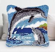Lemonfilter Latch Hook Kit, DIY Throw Pillow Cover Handcraft Printed Embroidery Set Crochet Needlework Crafts