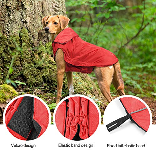 IREENUO Regenmantel Hunde, 100% Wasserdichter Hundemantel Regenjacke, mit Sicherheits Reflex Streifen, Geeignet für Outdoor-Bekleidung Mittlerer und Großer Hunde Rot-4XL - 6