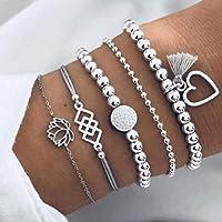 Yean Boho couches Bracelet perles chaîne main avec pompons argent à la main Coeur Bracelets pour les femmes et les…