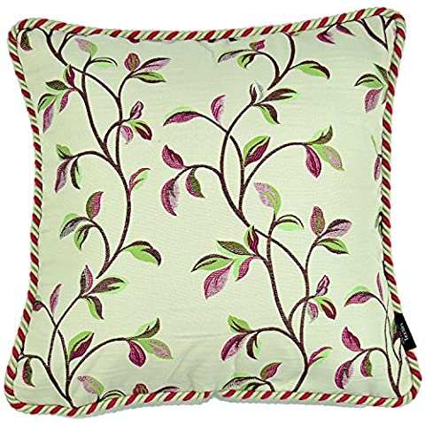 McAlister Textiles Annabel |Vintage Embroidered Tapestry Floral Leaf Bright Cherry Red Cushion Covers w/ Braided Piping | 43cm 16x 16