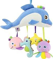 Naisidier Baby hängende Spielzeug Rasseln Weiches Plüsch-Spielzeug hängt an Kinderwagen Spielzeug Neugeborene Kleinkind Geschenk (Meerestiere)