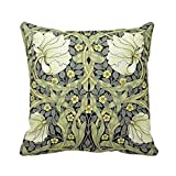 Linkla Danniol William Morris Vintage Flowers Square Throw Pillow Case Cotton Polyester Soft Comfortable 18x18 Inches Pillowcase One' Side