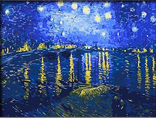 Malstudio Sternennacht uber der Rhone durch Vincent van Gogh DIY ol Malerei durch Zahlinstallationssatz Art Bild auf Leinwand drucken 16x20 Zoll (Gerahmt)