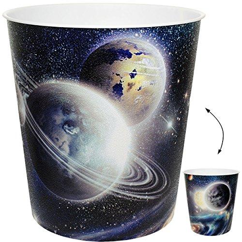 alles-meine.de GmbH Papierkorb / Behälter -  Weltraum - Planeten / Erde - Mond  - 10 Liter - aus Kunststoff - Mülleimer / Eimer - Aufbewahrungsbox für Kinder / Büro - Jungen - ..