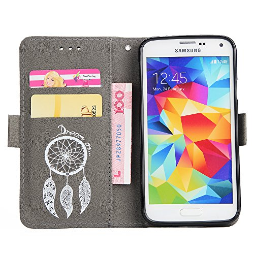 Hülle für Samsung Galaxy S5, Tasche für Samsung Galaxy S5 Neo, Case Cover für Samsung Galaxy S5, ISAKEN Blume Schmetterling Muster Folio PU Leder Flip Cover Brieftasche Geldbörse Wallet Case Ledertasc Text Traum Grau