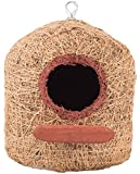 #7: Bristo Coco Fiber Bird Nest Pentagon House For Bird Breeding (Xl) With Wooden Perch For Cockatiel & Parrot
