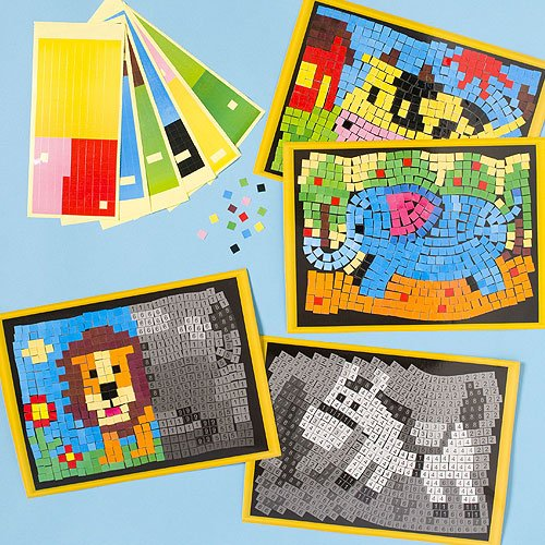 Animal Mosaic Masterpieces 4 Assorted Sticker Designs, for Children to Complete (Pack of 4)