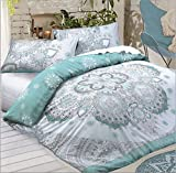 Amor Mode New Polycotton Bohemian Celestial Mandala wendbar Luxus Bettbezug Set Bettwäsche-Set Hotel Qualität Bettbezug mit Kissenbezügen, Polycotton, blaugrün, King Size