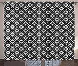 ABAKUHAUS aztekisch Rustikaler Gardine, Barockes ethnisches Muster, Schlafzimmer Kräuselband Vorhang mit Schlaufen und Haken, 280 x 225 cm, Weiß und Schwarz