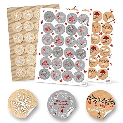 SET 3 x 24 Weihnachtsaufkleber Geschenkaufkleber FROHE WEIHNACHTEN + SCHNEEFLOCKE weihnachtlich Sticker rund 4 cm grau weiß rot natur schwarz Verpackung Weihnachtsgeschenke Geschenkverpackung