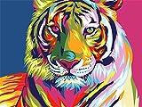 Tirzah Malen nach Zahlen mit 3X Bildschirmlupe 40 x 50cm DIY Leinwand Gemälde für Erwachsene und Kinder, Enthält Acrylfarben und 3 Pinsel - Bunter Tiger (Ohne Rahmen)