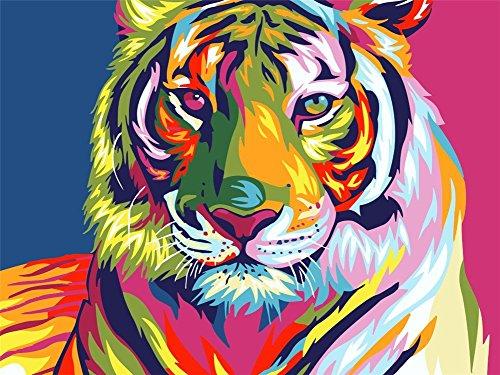 Tirzah Holzrahmen Malen nach Zahlen mit 3X Bildschirmlupe 40 x 50cm DIY Leinwand Gemälde für Erwachsene und Kinder, Enthält Acrylfarben und 3 Pinsel - Bunter Tiger